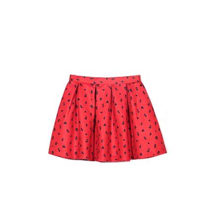 Fashionable pleated patterned mini skirt