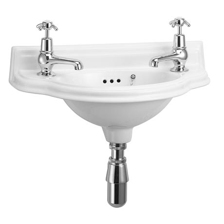 Curved white bathroom sink