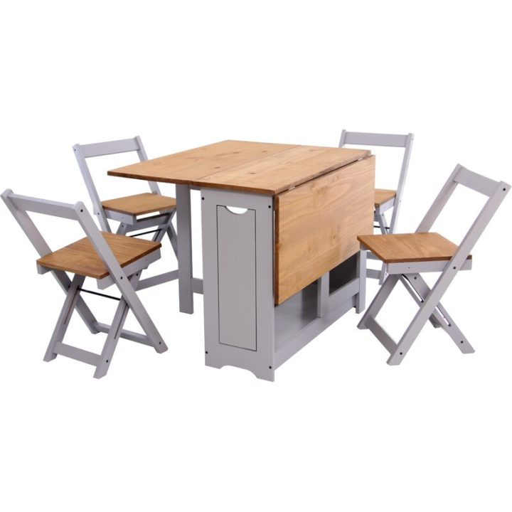 Space saving brown kitchen table & chairs set