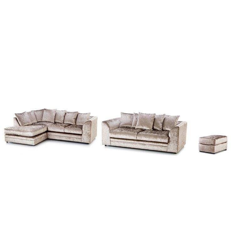 Soft velvet 3 piece suite