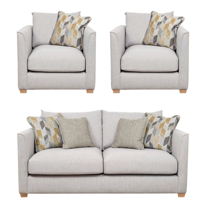 Patterned cushion grey 3 piece suite