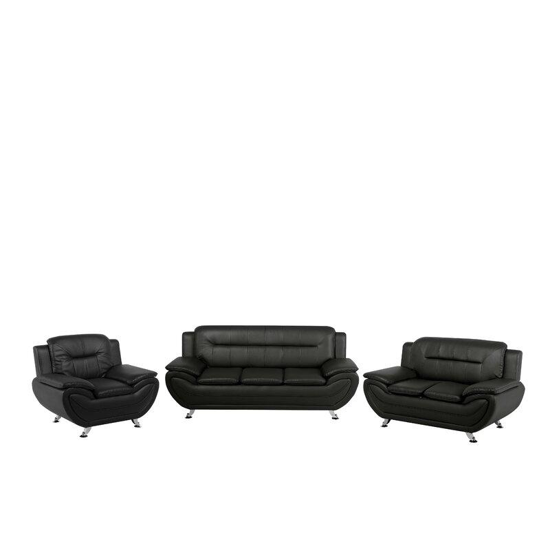 Smart black leather 3 piece suite