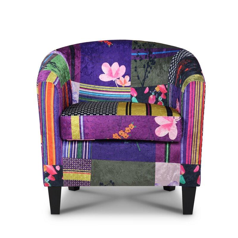 Vibrant floral velvet armchair