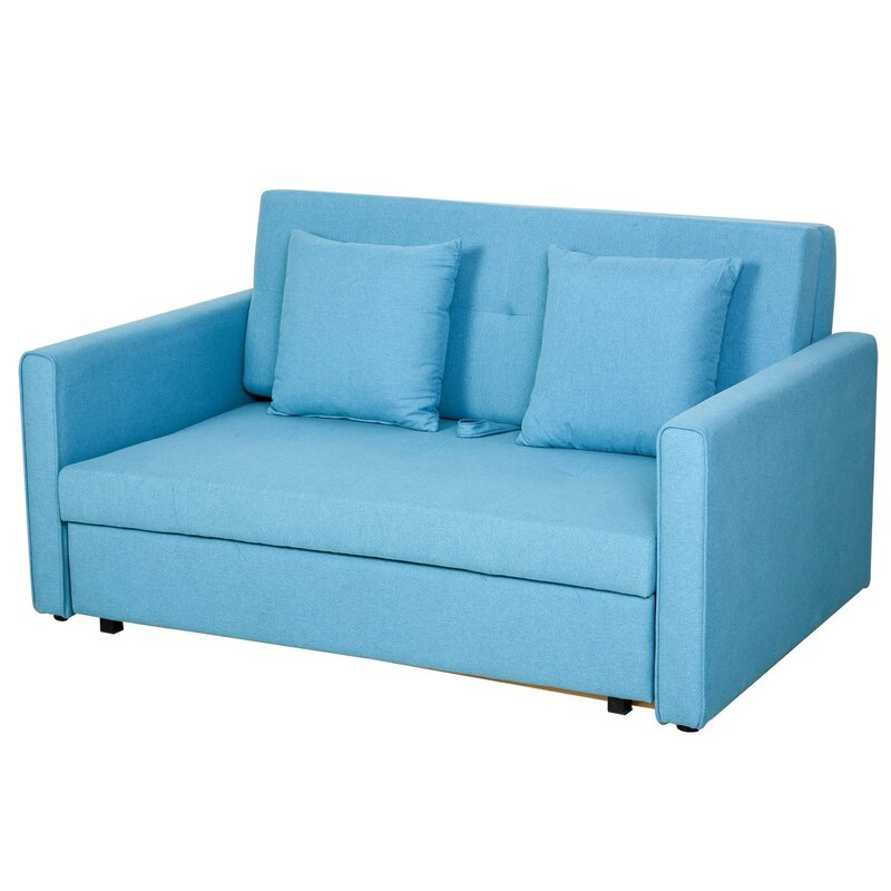 Bright blue sofa bed