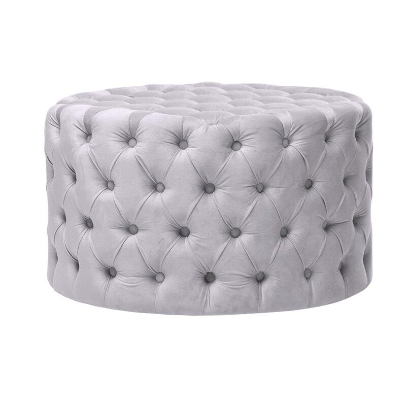 Sassy silver round foot stool