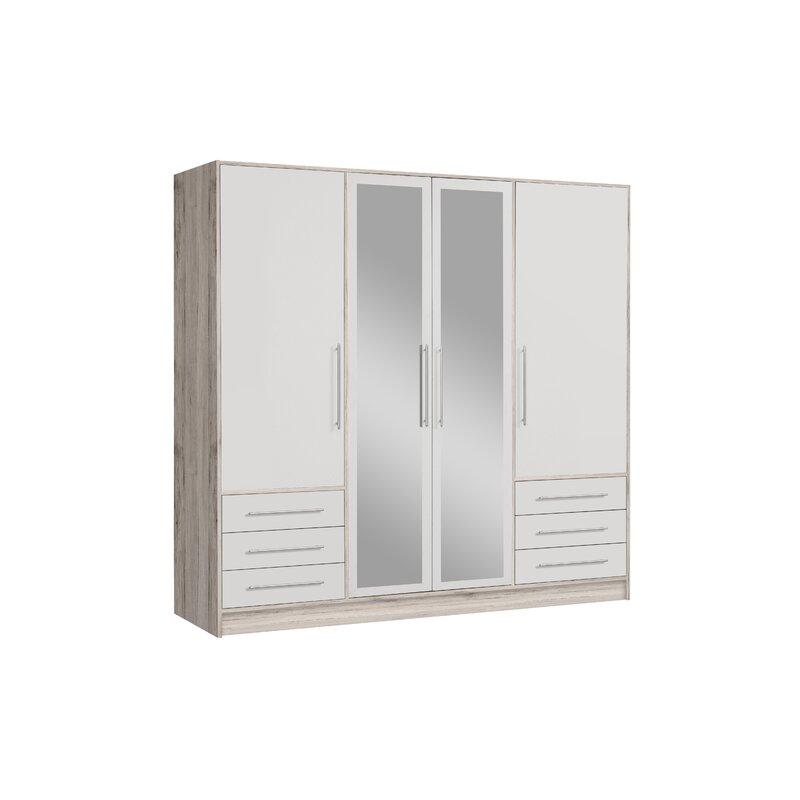 Deluxe white 4 door 6 drawer wardrobe