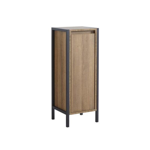 Tall brown bathroom storage unit