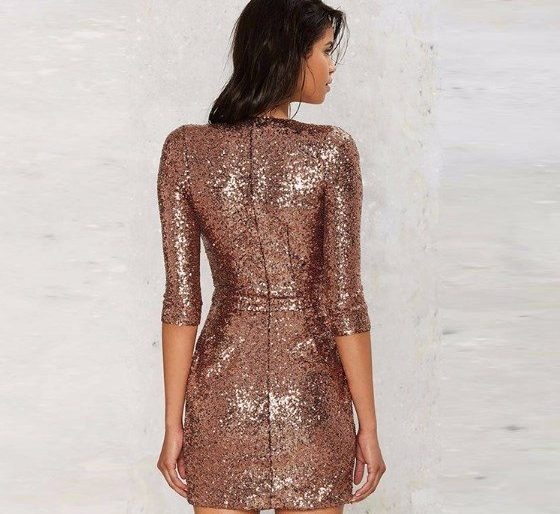 Mid sleeved bronze sequinned mini
