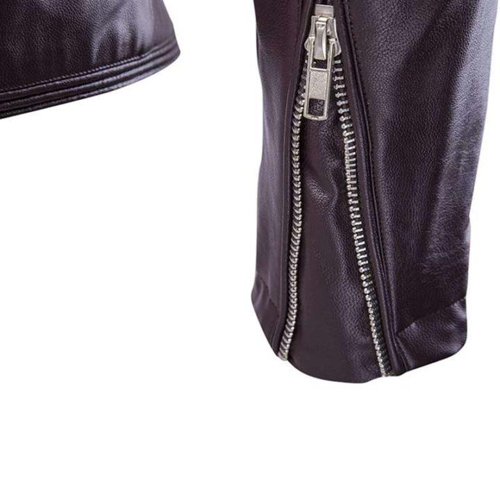 Leather sleeve zipped jacket
