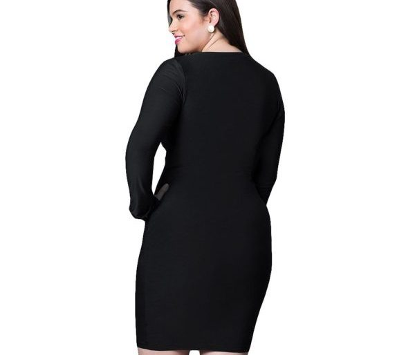 Plunging long sleeved tight fitted dress