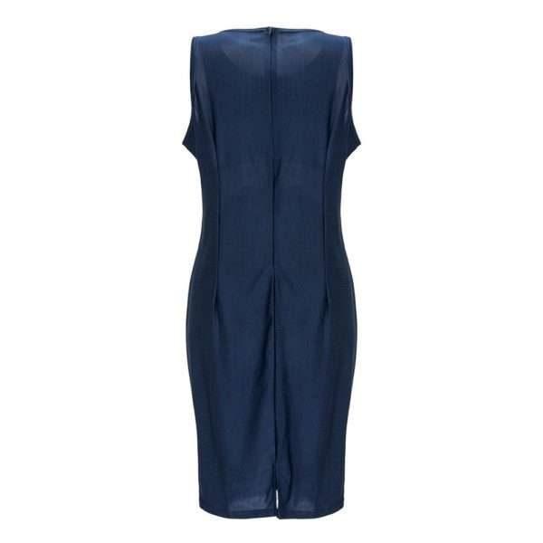 Cute white waist sleeveless navy midi dress