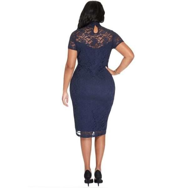 Laced short sleeved navy midi dress