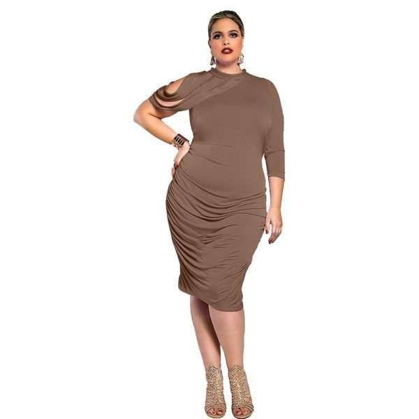 Elegant shoulder slit midi dress