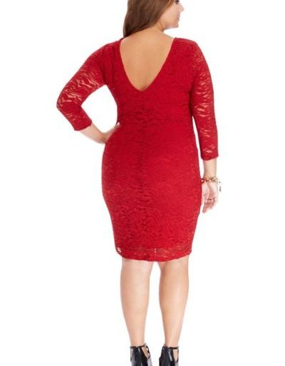 Red laced mid sleeved midi dress