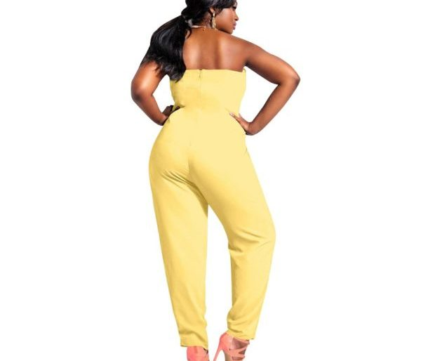 Front bowed yellow jumpsuit