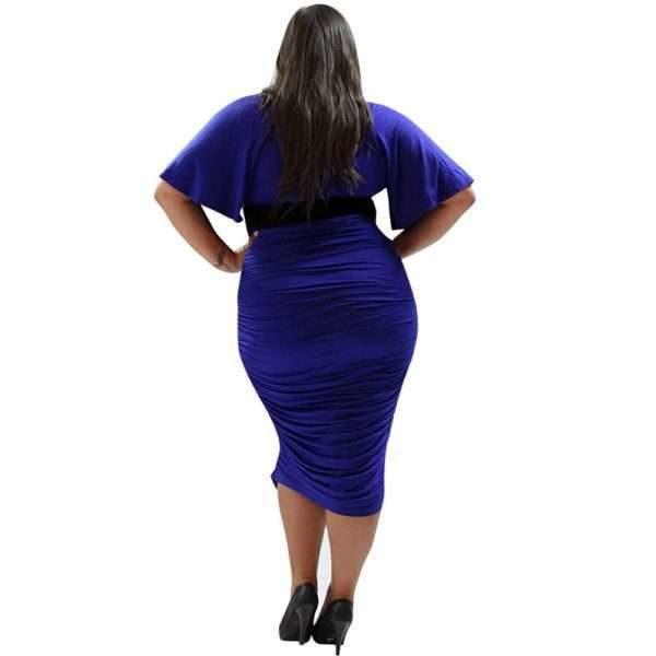 Mid sleeved blue midi dress