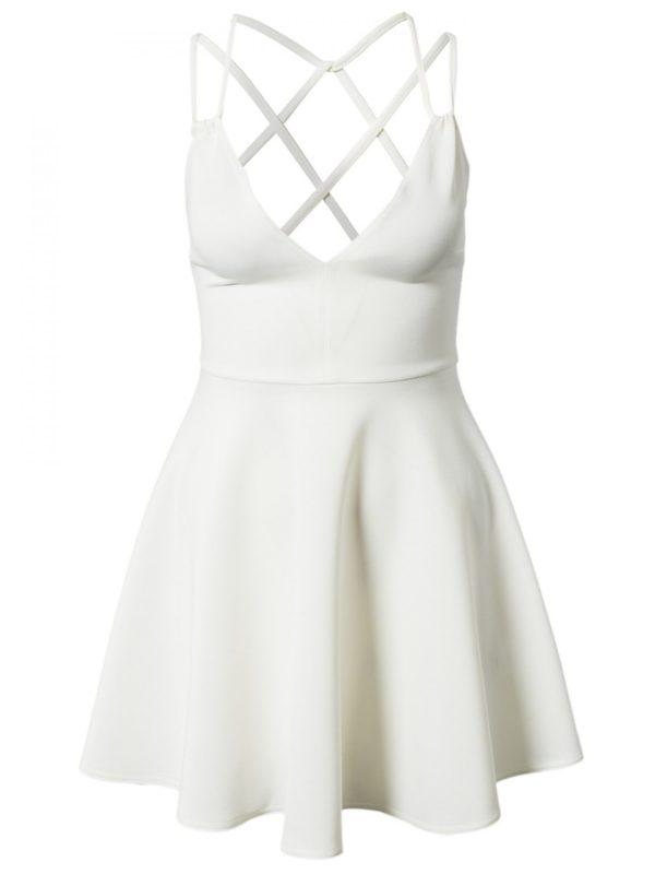 White spaghetti strapped skater dress