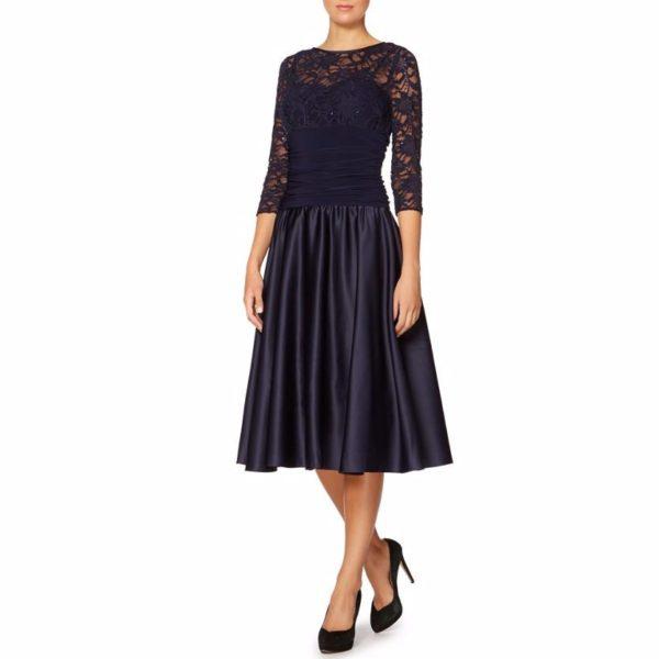 Sexy black lace long skater dress