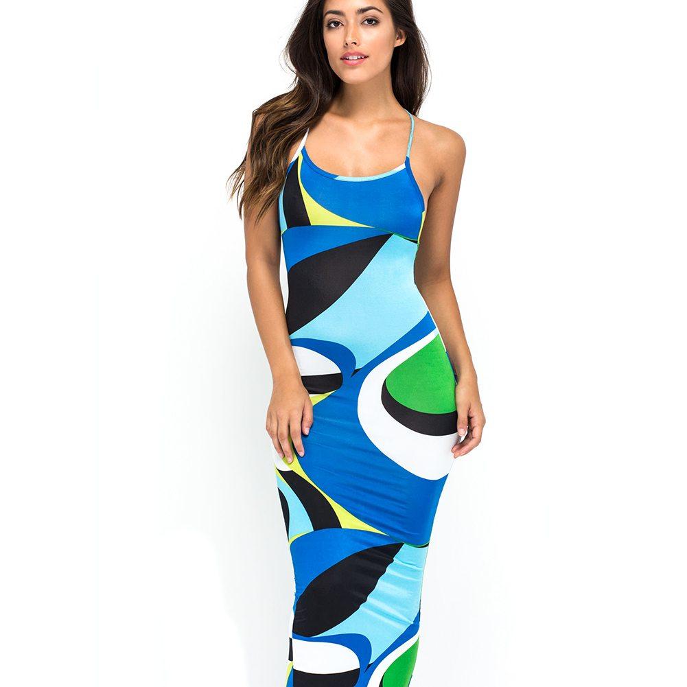 Geometric patterned maxi dress