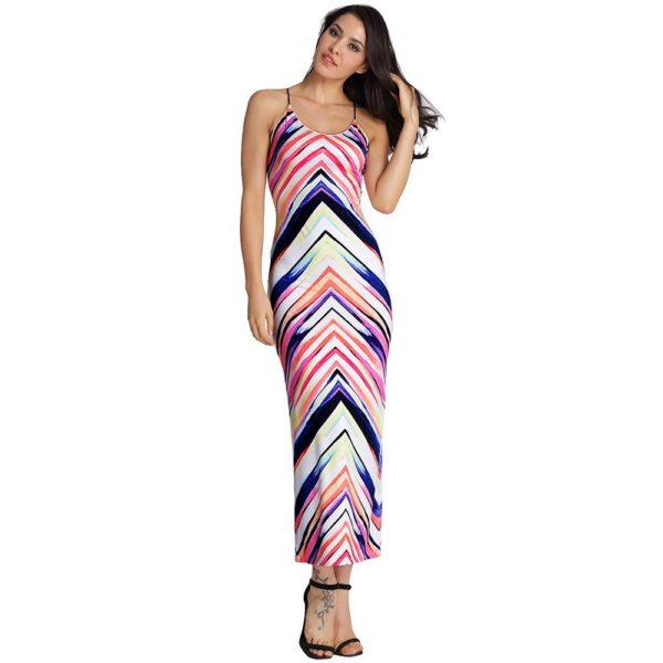 Sexy colourful wavy striped maxi dress