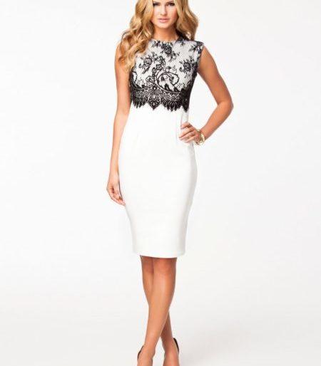 Laced silhouette sleeveless midi dress