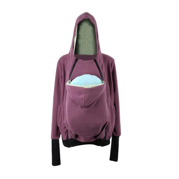 Snug purple baby pouch maternity hoodie