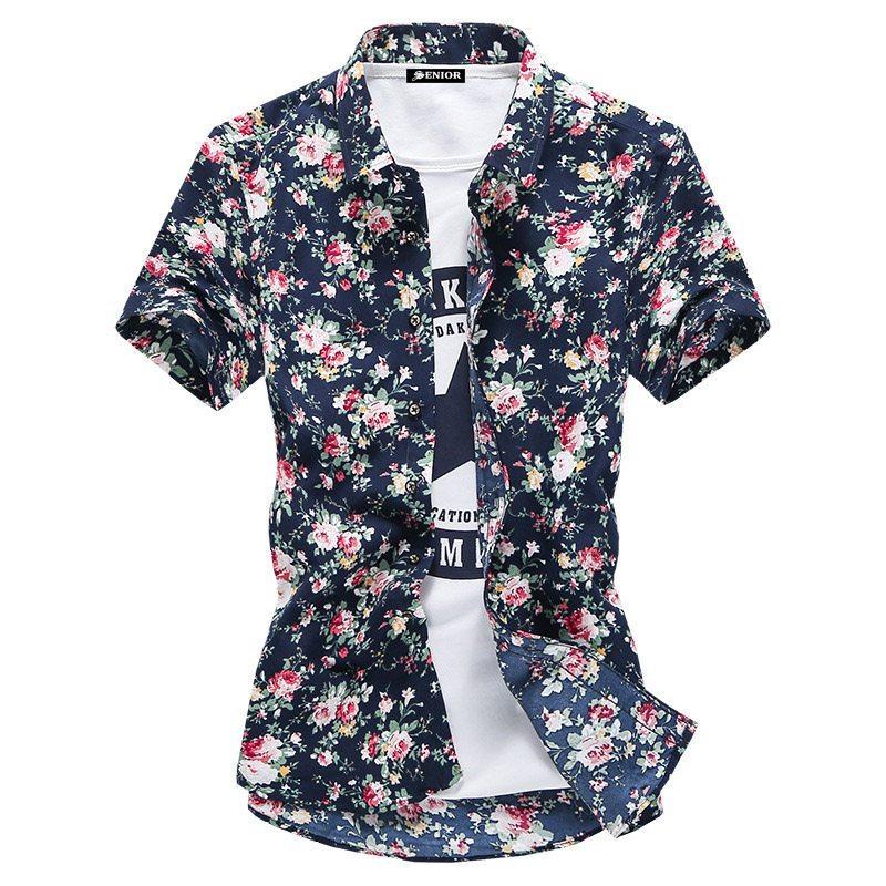 Floral printed short sleeved shirt