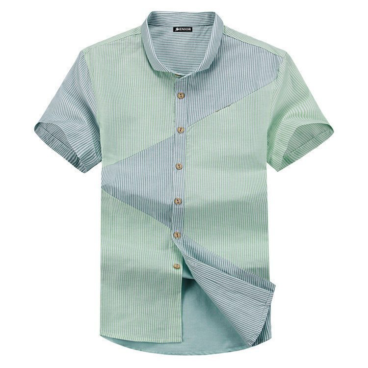 A striped patterned short sleeved shirt