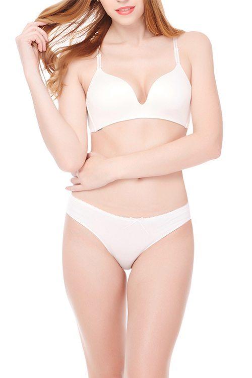 Unique white back lace detailed bra & knicker set