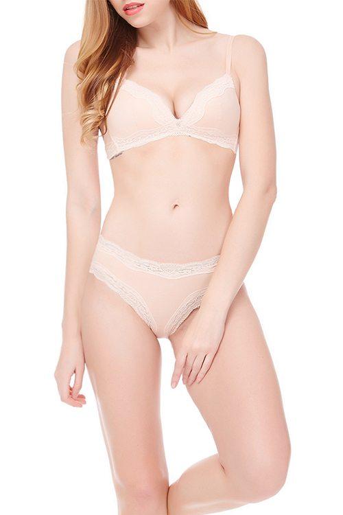 Plain nude bra & knicker set