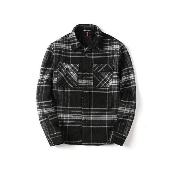 Chequered front pocket long sleeved shirt