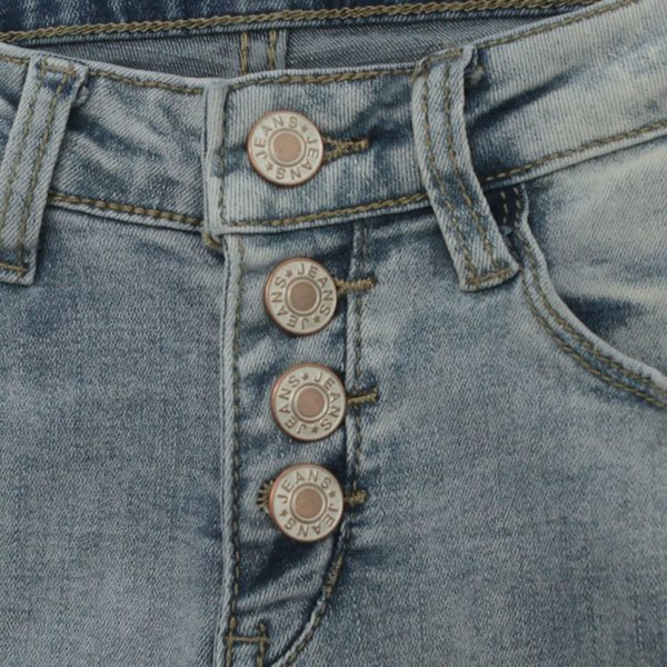 Multi buttoned faded blue ripped jeans