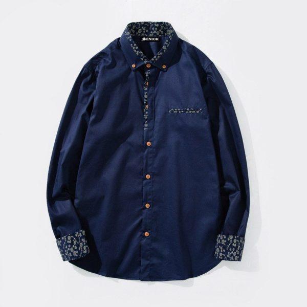 Patterned collar & cuffs long sleeved shirt