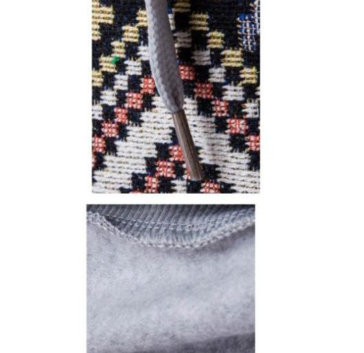 Aztec patterned drawstring hoodie