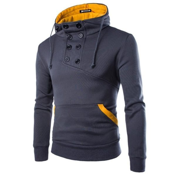 Drawsting buttoned yellow interior jumper