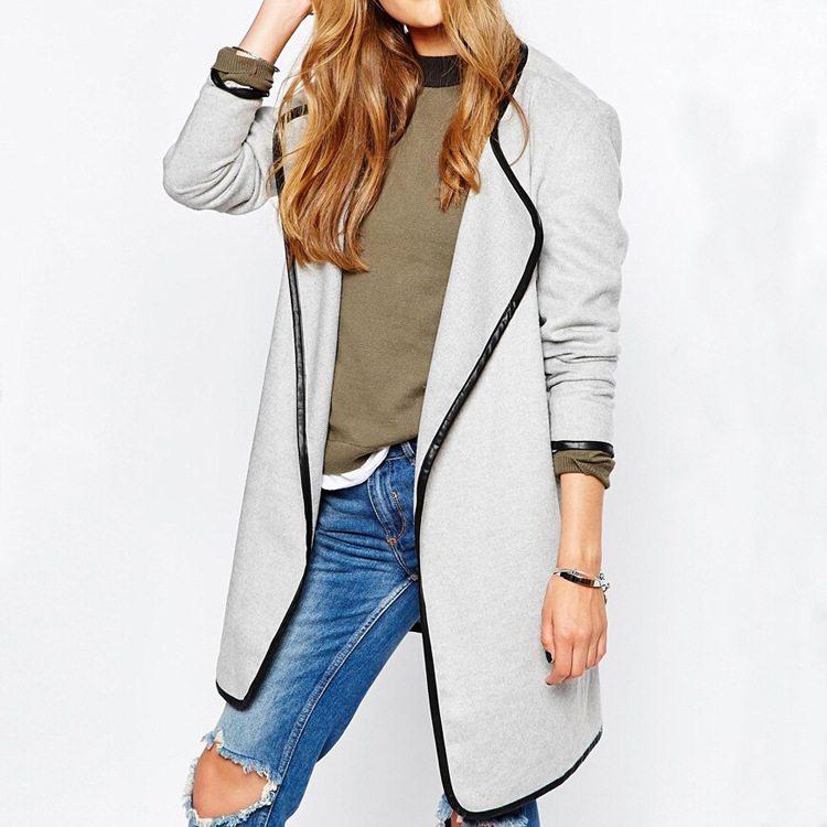 Trendy black & grey lined long coat