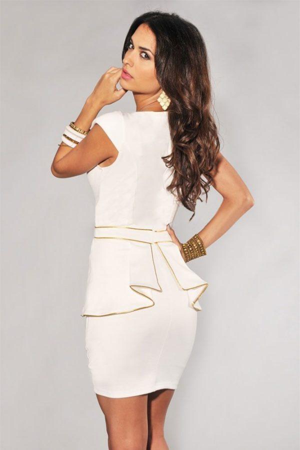 Gold trimmed peplum dress
