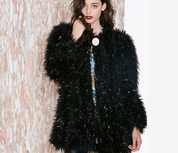 Lush black faux fur coat
