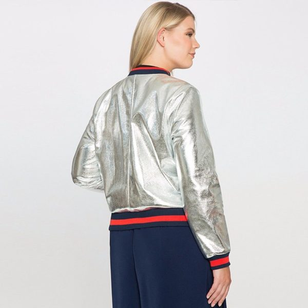 Graphic silver bomber jacket