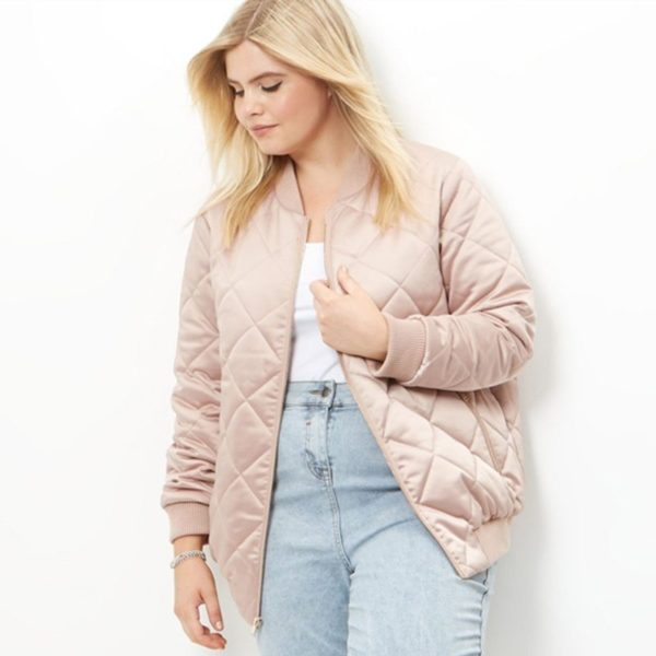 On point quilted bomber jacket