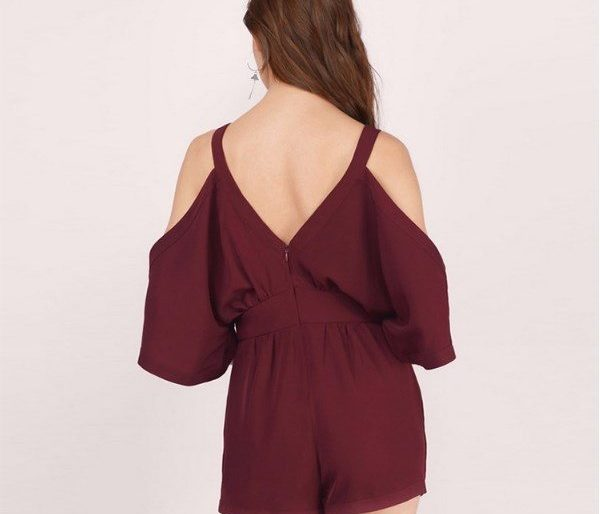 Sexy cold shouldered plunging romper