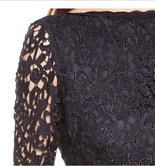 Subtle black evening lace mini dress