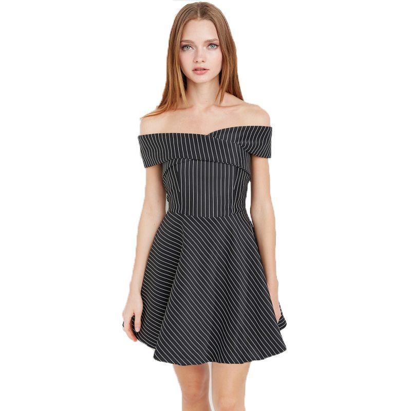 Striped bardot mini dress