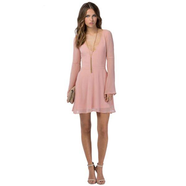 Plain pink mini dress