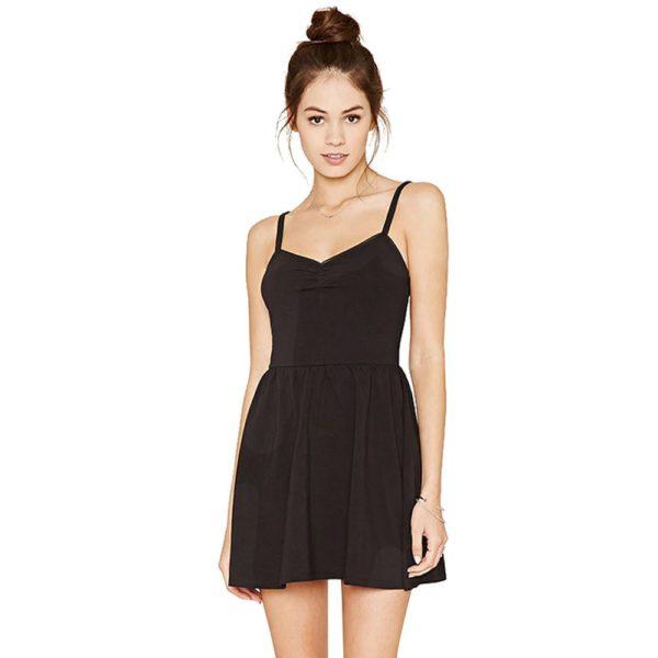 Hot black spaghetti strapped dress