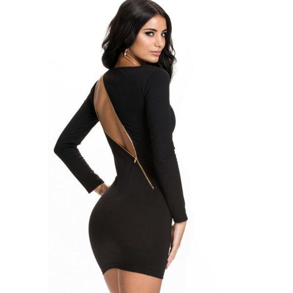 Racy black long sleeved dress