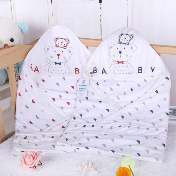 Bear patterned swaddle sleeping bag blanket set