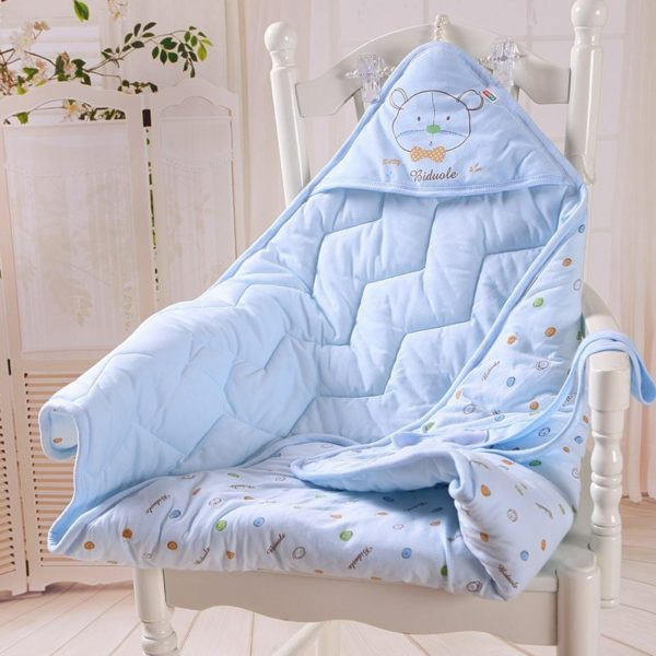 Soft baby blue quilted blanket