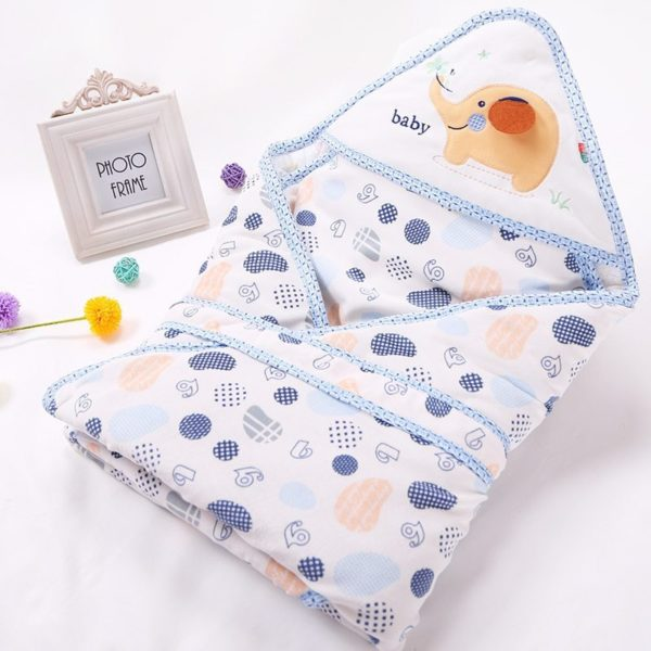 Spotted elephant quilted swaddle blanket