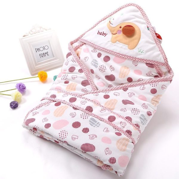 Pink spotted elephant quilted swaddle blanket